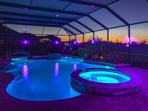Blue and purple pool lights by avario in Dubai